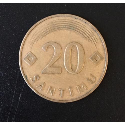 Монета Латвия 20 сантимов, 1992