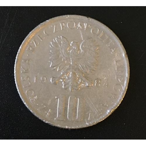 Монета Польша 10 злотых,1984