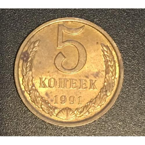 Монета СССР 5 копеек,1991
