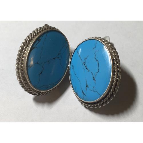 Сережки серебро 925 пробы,натуральный камень- бирюза