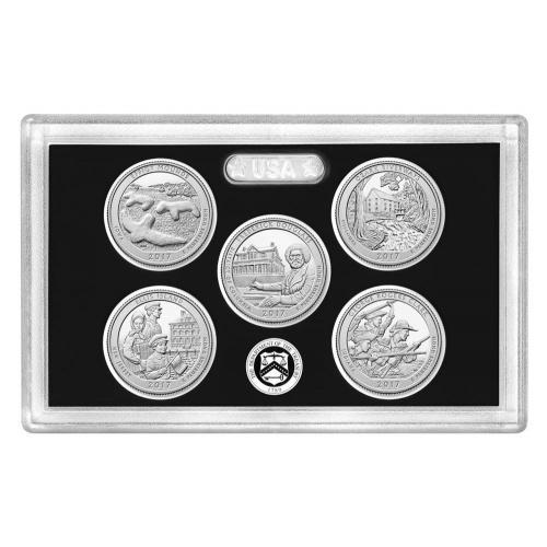 Серия монет США 2017, Национальные парки Америки. Набор (квотеров) 25 центов, серебро, пруф