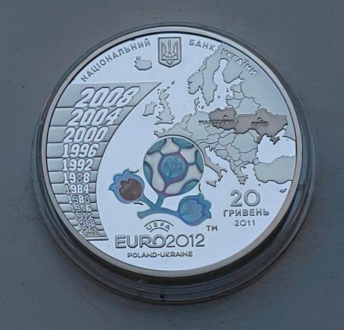 Срібна пам'ятна монета 20 гривень Євро 2012 Євро Ag 925, 62,2 г. UEFA Euro 2012