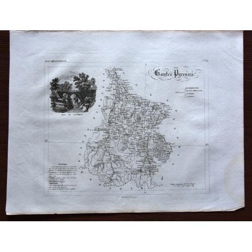 Старинная карта из атласа регионов Франции 1830 года. Гравюра 36x27 см.