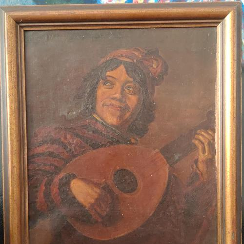 Юноша с мандалиной. 1904 год. Трофейная. Холст, масло 43*35 см.