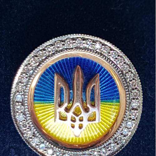 Золотий значок Прапор і герб України з діамантами, вага 5,4 гр.
