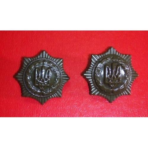 Петличный знак герб Тризуб Украина китель мундир тюрьма шеврон кокарда