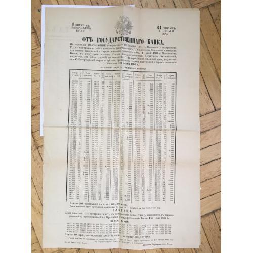 Таблица серий билетов с выигрышами займа 1864 года, вышедших в тираж погашения, произведенный в Правлении Государственного Банка