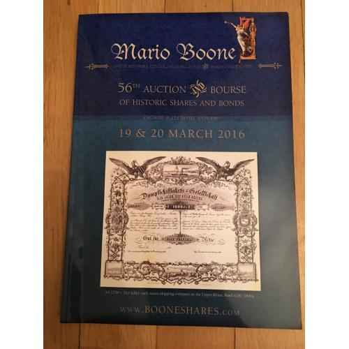 Каталог 56-го аукциона по скрипофилии Марио Буне 2016 г.