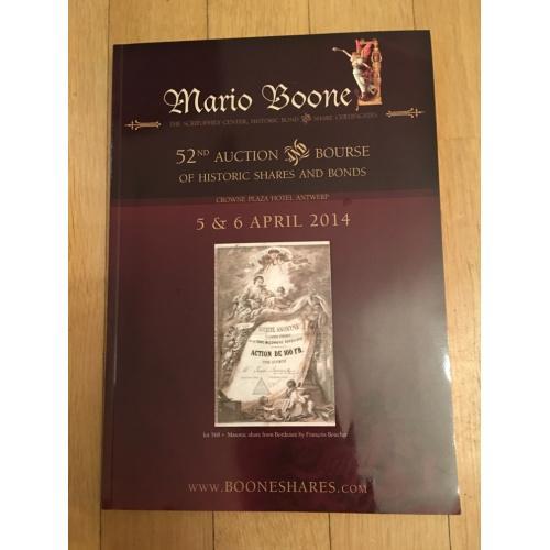 Каталог 52-го аукциона по скрипофилии Марио Буне 2014 г.