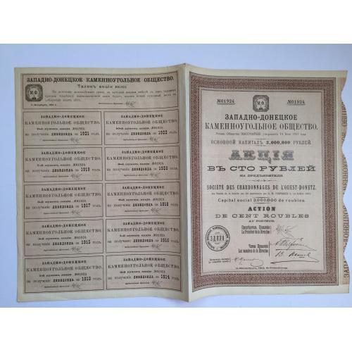 Западно-донецкое каменноугольное общество — акция 100 рублей — 1913 год