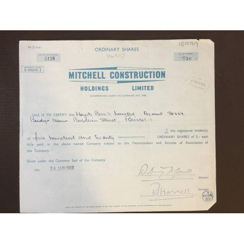 Mitchell Construction Holdings  Limited  - Сертификат -  Строительное общество - Англия, 1969 г.