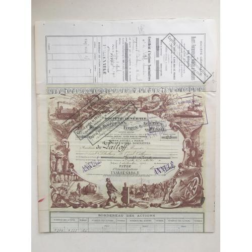 Общество доменных печей и металлургических заводов — именной сертификат с корешком — 1902 год