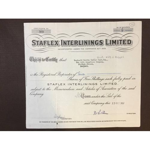 Staflex Interlilings  Limited  - Сертификат - Англия, 1957 г.