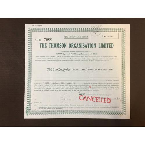 The Thomson Organisation Limited - Сертификат - 1980 г.