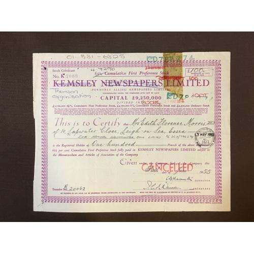 Thomsom Organisation Limited  - Сертификат  -  Англия, 1955 г.