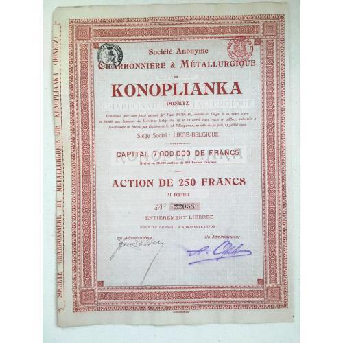 Общество угольной и металлургической промышленности — Коноплянка — акция 250 франков