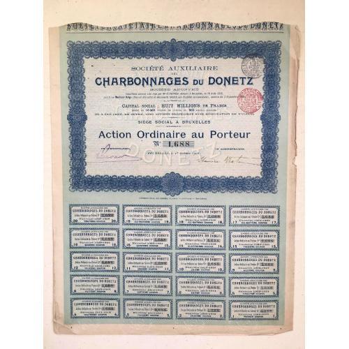Угольные шахты — Донецк — акция на предъявителя — 1908 г.