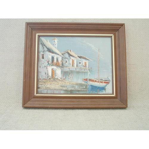 №739 Картина итальянского художника в раме 50 60 е годы Городок у моря Масло 31 х 27 см.