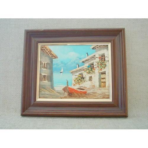 №740 Картина итальянского художника в раме 50 60 е годы Вид на бухту Масло 33 х 28 см.