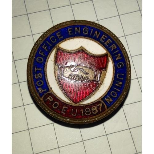 Винтажный знак Почтово инженерного союза P.O.E.U 1887 г