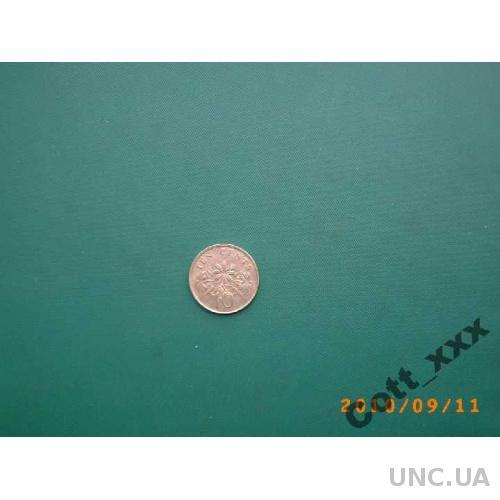 10 центов 1991г. Сингапур
