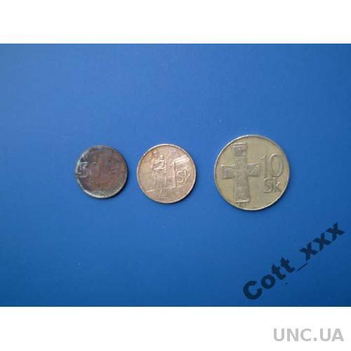 Словакия - 50 галеров 2005+1 кор 1994+ 10 кор 1994