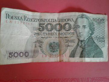 5000 PLN / злотых polska rzeczpospolita ludowa 1988