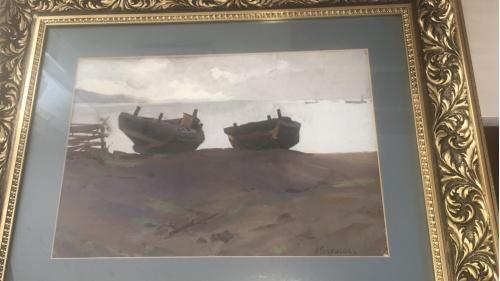 Продажа! Пейзаж,, Море Лаптевых''картон, масло, нач 20- века