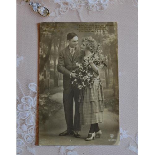 Антикварная открытка: Мужчина и женщина. Пара. Влюблённые. Милый разговор.