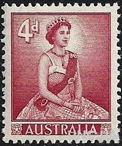 Марка. Королева Елизавета II. Австралия.1959г.