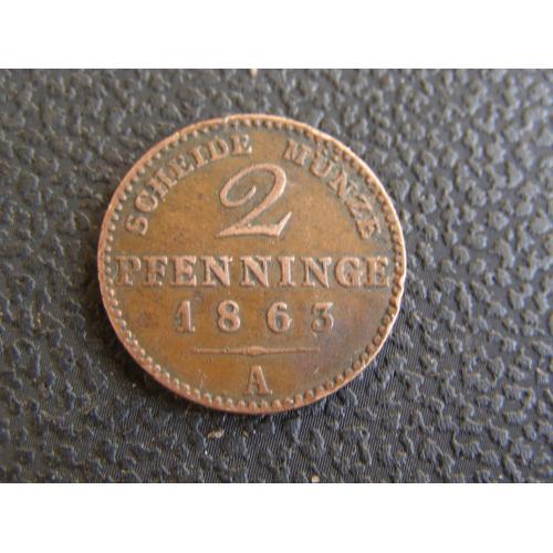 2 пфенинга 1863 А Пруссия