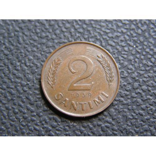2 сантима Латвия 1939 г