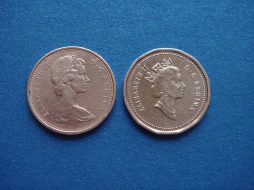 Канада, 1 +1 цент 1974, 1993 г.