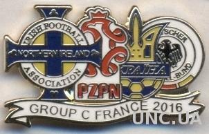 Евро-2016 группа Украина.ЭМАЛЬ /N.Irel.-Poland- Ukraine-Germany Euro group C pin