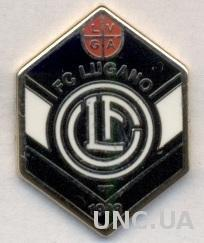 футбол.клуб Лугано (Швейцария) ЭМАЛЬ / FC Lugano, Switzerland football pin badge