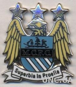футбол.клуб Манчестер Сити (Англ) ЭМАЛЬ выпуклый /Manchester City FC,England pin