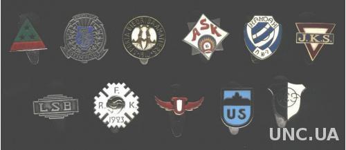 Латвия, коллекция 11 'древних' клубов, ЭМАЛЬ / Latvia old football clubs badges