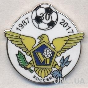 Вирг.О-ва США,федер.футбола, юбилей 30,ЭМАЛЬ / US Virgin Isls football feder.pin