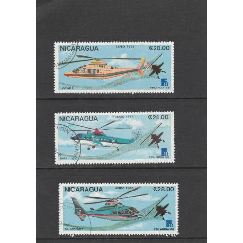 Нікарагуа. Гелікоптер. Nicaragua 1988 Helicopter, Mi 2879 - 2884 - 6 марок