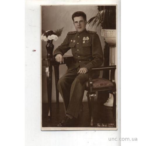 ФОТО.     ИЗ ГЕРМАНИИ. 1945  ВОЕННЫЙ С НАГРАДАМИ.
