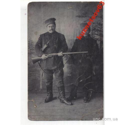 ФОТО.  ОХОТА. ОХОТНИК С ДВУХСТВОЛКОЙ.  1914
