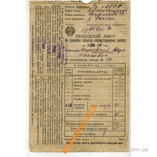 ОКЛАДНОЙ ЛИСТ. НАЛОГОВАЯ. КРЫМ. 1930