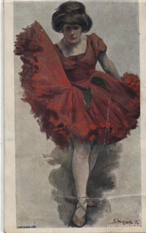 ::ТАНЦЫ::  Балерина в красном платье 1910г. (цветн