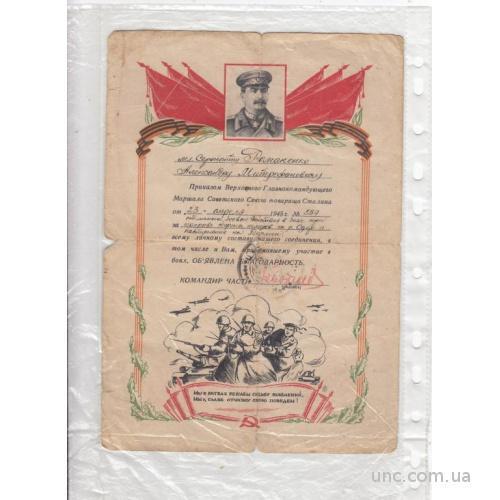 БЛАГОДАРНОСТЬ.АПРЕЛЬ 1945 ПРОРЫВ ОБОРОНЫ НЕМЦЕВ НА ОДЕР. БЕРЛИН.