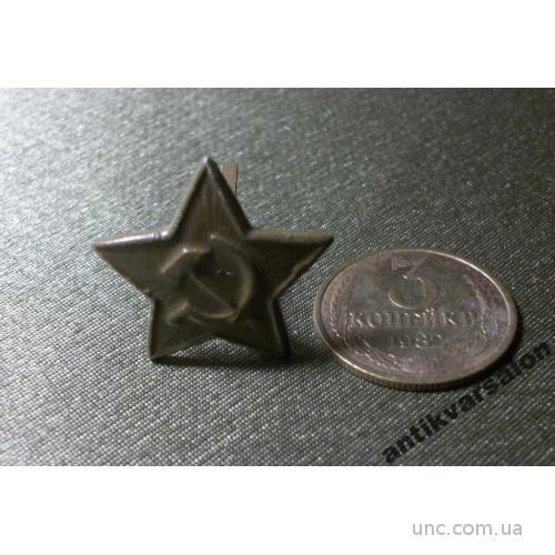1 Знак кокарда, ЗВЕЗДА, малая, металл, зеленая.