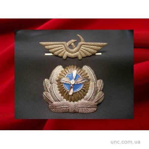 1337 Кокарда авиация ГВФ и знак на тулью, легкий металл.