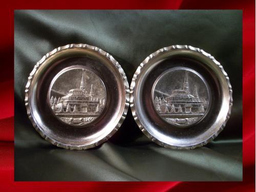 648 Тарелка Москва, Кремль, мавзолей Ленин - Сталин, 2 штуки, легкий металл