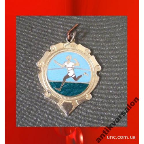 2084 Медаль победителя, спорт, бег, эмаль, тяжелая.
