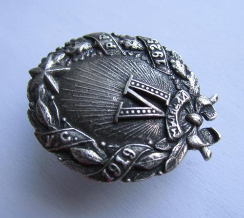 Знак 6 лет Милиции УСРР 1919-1925 Украина. серебро