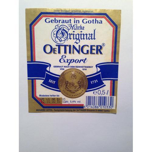 """Этикетка. Пиво  OeTTINGER. Производитель: ПАТ """"ПБК """"Радомишль"""" 2005 г."""